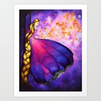 Rapunzel And Lanterns Art Print