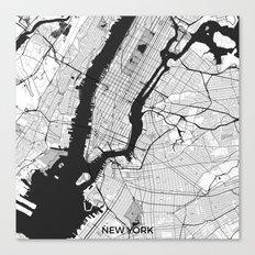New York Map Gray Canvas Print