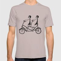 Tandem Bicycle Mens Fitted Tee Cinder SMALL
