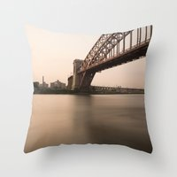 Hell Gate Bridge (NYC) A… Throw Pillow