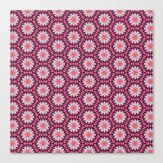 Marsala and Grey Zigzag Flower Kaleidoscope Pattern Canvas Print