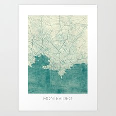 Montevideo Map Blue Vintage Art Print