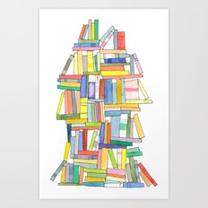Book Stack Art Print