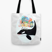 TIME IS A MYTH, penguins singing on a whale Tote Bag