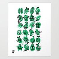 Monsters Heads  Art Print
