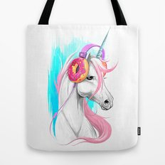 Unicorn in the headphones of donuts Tote Bag