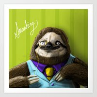 The Fanciest Sloth Art Print