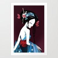 Geisha la blanche Art Print