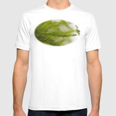 Delicate green fronds SMALL Mens Fitted Tee White
