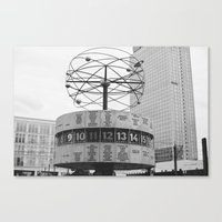 World Clock Black And Wh… Canvas Print