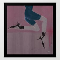 Lady with shoes 2 Art Print