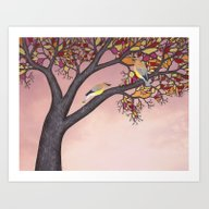 Art Print featuring Cedar Waxwings On The St… by Sarah Knight