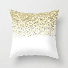 Sparkling golden glitter confetti on white I Throw Pillow