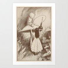 Alice in Wonderland With the Caterpillar  Art Print