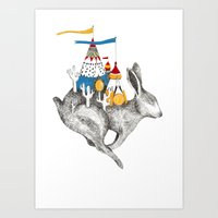 Rabbit On A Holiday Art Print