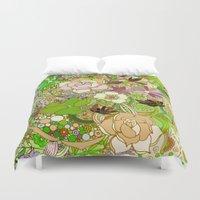 Detailed summer floral pattern, green Duvet Cover