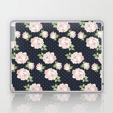 Blue and Pink Vintage Rose Pattern Laptop & iPad Skin