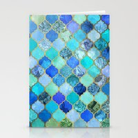 indian Stationery Cards featuring Cobalt Blue, Aqua & Gold Decorative Moroccan Tile Pattern by micklyn