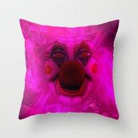 Cotton Candy Clown Throw Pillow