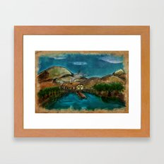 The House between Mountains and Lake Framed Art Print