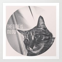 Time is Meow Art Print