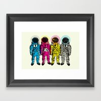 CMYK Spacemen Framed Art Print
