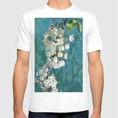 Blossom Textured White Mens Fitted Tee SMALL