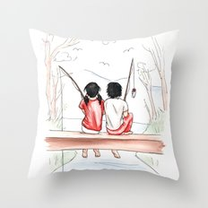meg and jack Throw Pillow