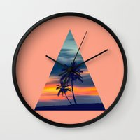 Palms and sunset triangle Wall Clock