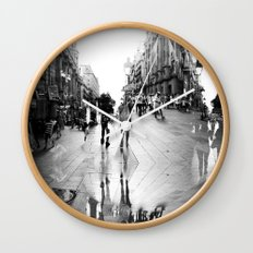 Summer space, smelting selves, simmer shimmers. 15, grayscale version Wall Clock