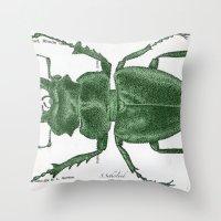 Green Beetle Postcard Throw Pillow