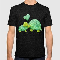 Turtle Hugs Mens Fitted Tee Tri-Black SMALL