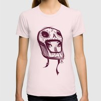 Skully Helmet Womens Fitted Tee Light Pink SMALL
