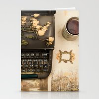 Little roses over an old typewriter and tea (Retro and Vintage Still Life Photography) Stationery Cards
