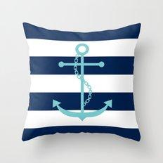 Aqua Anchor Shape on Wide Stripes Pattern Throw Pillow