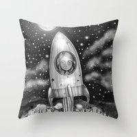 Running Away From Home In A Rocket Ship Throw Pillow