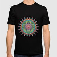 Boho Patchwork-Eden colors Mens Fitted Tee Black SMALL
