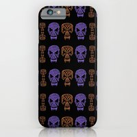iPhone Cases featuring skulls orange and lavander pattern by giol's