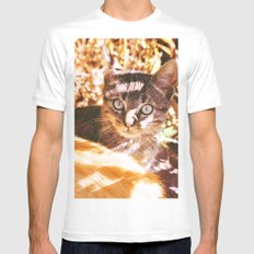 Cat in the shadows Mens Fitted Tee White SMALL
