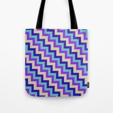 Purple Turquoise and white chevron Tote Bag