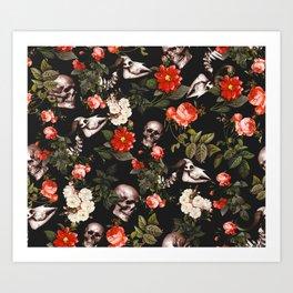 Art Print - Floral and Skull Pattern - Burcu Korkmazyurek