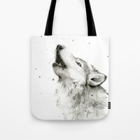 Wolf Howling Watercolor Wildlife Painting Tote Bag