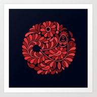Art Print featuring Folk Rooster by Slovensky