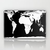 World Map Black & White Laptop & iPad Skin