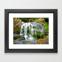 Waterfall Over Green Roc… Framed Art Print
