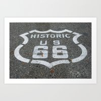 Route 66 Sign On The Roa… Art Print