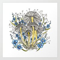 Blue Flowers And Mushroo… Art Print
