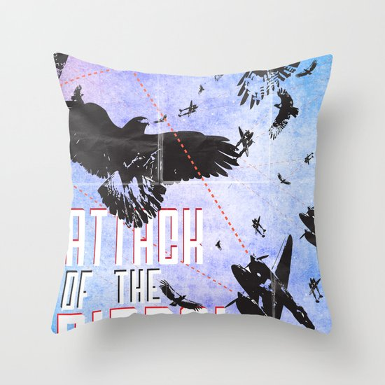 Attack of The Birds! Throw Pillow