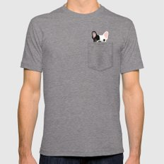 Pocket French Bulldog - Pied Mens Fitted Tee Tri-Grey SMALL