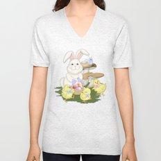 White Rabbit and Easter Friends Unisex V-Neck